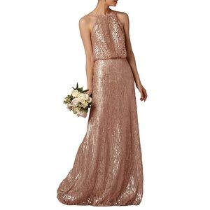 Dresses & Skirts - Rose Gold Halter Strap Long Chiffon Sequin Dress